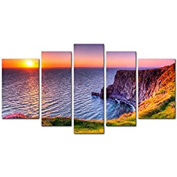 5 Pieces Modern Canvas Painting Wall Art The Picture For Home Decoration Destination Cliffs Of Moher Beach At Sunset Doolin County Clare Ireland Seascape Sunrise Print On Canvas Giclee Artwork For Wall Decor