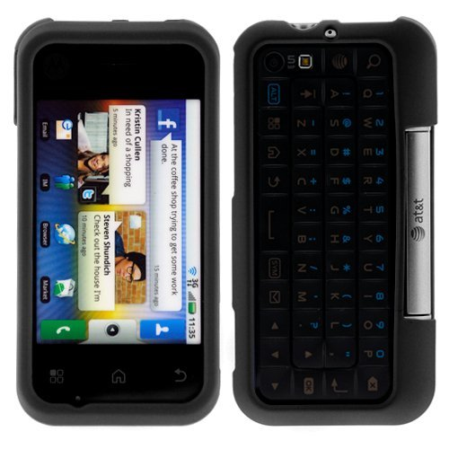 GTMax Durable Black Rubber Hard Snap On Crystal Cover Case for ATT Motorola BACKFLIP Android GSM Cell Phone