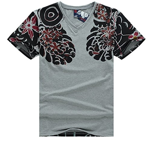 Japanese Traditional Tattoo Style T-shirt Costume [ Gray M Size ]