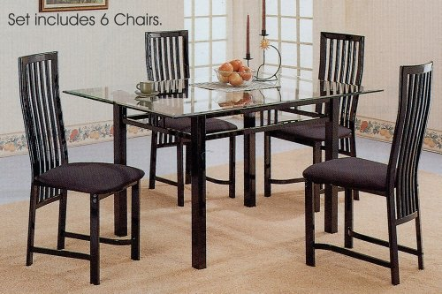 Cheap 7pc Glossy Black Metal Glass Top Dining Room Table Chairs Set (VF_dinset-2776-2880)