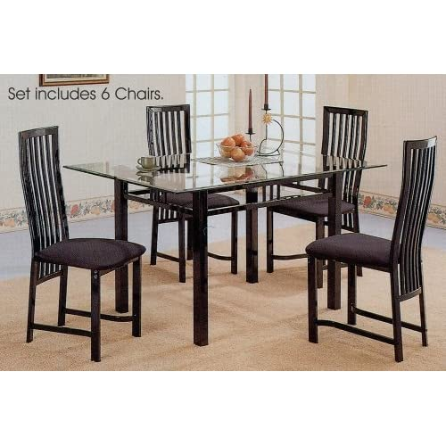 7pc Glossy Black Metal Glass Top Dining Room Table Chairs Set : 51D18WR26FLSL500AA500 from www.popscreen.com size 500 x 500 jpeg 53kB