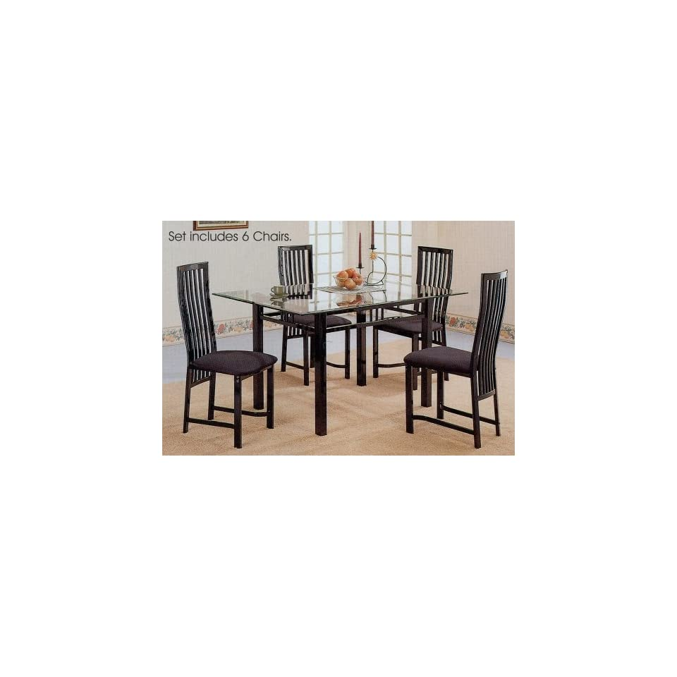 7pc Glossy Black Metal Glass Top Dining Room Table Chairs Set On PopScreen