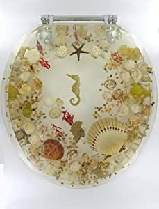 Sea Shell Lucite Tropical Fish Toilet Seat Seashell Standard Size Novelty T