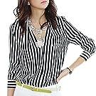 Zeagoo Women's Stripes Long Sleeve Turn-down Collar Blouse ((US XL(16 ) UK 18 EU 46 AU 20), Black White3)