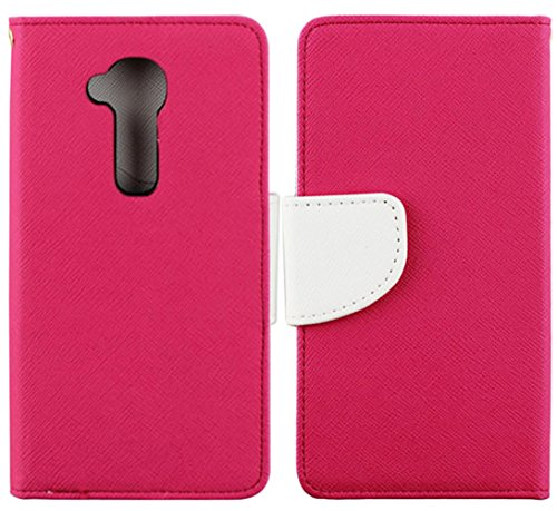 Mylife Rose Pink + Dove White {Modern Design} Faux Leather (Multipurpose - Card, Cash And Id Holder + Magnetic Closing) Folio Slimfold Wallet For The Lg G2 Smartphone (External Textured Synthetic Leather With Magnetic Clip + Internal Secure Snap In Closur