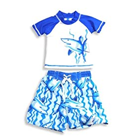 Isababies - Toddler Boys Bathing Suit And Sunguard Top, Blue, White