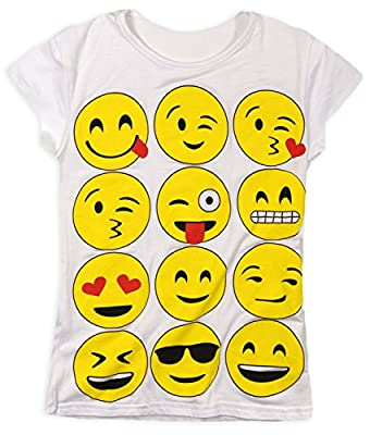 Girls Emoji Short Sleeved T Shirt New Kids Smiley Print Tops Novelty