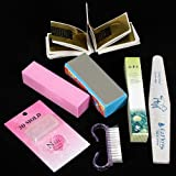 42 Acrylic Powder Liquid Brush Glitter Clipper Primer File Nail Art Tips Set Kit (6) (Color: A, Tamaño: 6)