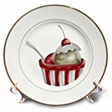 Anne Marie Baugh - Illustrations - Cute Bowl Of Ice Cream In Red and White With A Cherry Illustration - 8 inch Porcelain Plate (cp_222643_1)