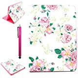 iPad Case, iPad 2/3/4 Case, High Quality PU Leather Case [Stand Feathure] [Wake/Sleep Function] with Samrt Cover [Scratch Proof] Protecive Folio Cover for Apple iPad 2/3/4 (Come with One Stylus Pen)(Blossom)