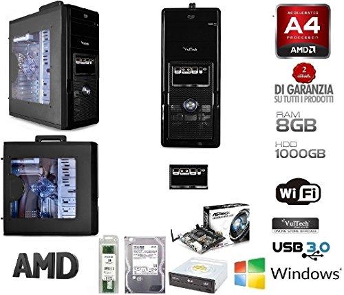 PC DESKTOP COMPLETO AMD QUAD CORE CON WIFI/HD 1 TB/RAM 8GB/HDMI/USB 3.0 PC FISSO PRONTO UTILIZZO - RGDIGITAL