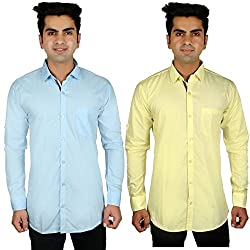 Nimegh Sky Blue, Yellow Color Cotton Casual Slim fit Shirt For men's (Pack of 2)