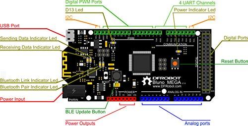 Bluno Mega 2560 - An Arduino with Bluetooth 4.0 /. It allows wireless programming via BLE, supports Bluetooth HID, AT command to config BLE and you can upgrade BLE firmware easily by DF MAKER