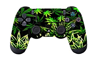 Leather Texture Surface Designer Skin Sticker for Playstation 4 Remote Controller - Weeds Black