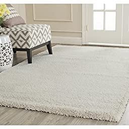 Safavieh Milan Shag Collection SG180-1212 Ivory Square Area Rug, 5 feet 1 inches Square (5\'1\