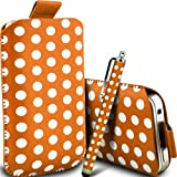 Gadget Giant Orange Polka Dots PU Leather Pull Tab Protective Pouch Case Cover & Capacitive LCD Touch Screen Stylus For Motorola WILDER