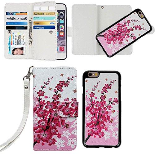 """iPhone 6 Plus Case,xhorizon TM FLK Premium Leather Folio Case [Wallet] [Magnetic Detachable] Wristlet Purse Flip Multiple Card Slots Case Cover for iPhone 6 Plus [5.5""""] [Watercolor]"""