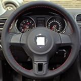 XIE Black Genuine Leather Steering Wheel Cover for Volkswagen Golf 6 Mk6 VW Polo Sagitar Bora Santana Jetta , white