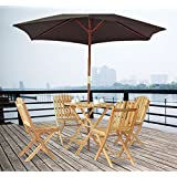Homcom 5 Pcs FSC certificated Fir Wood Wooden Patio Garden Outdoor Furniture Set Wooden 4 Seater Dining Relax Folding Chairs + Round Table (Parasol Not Included)