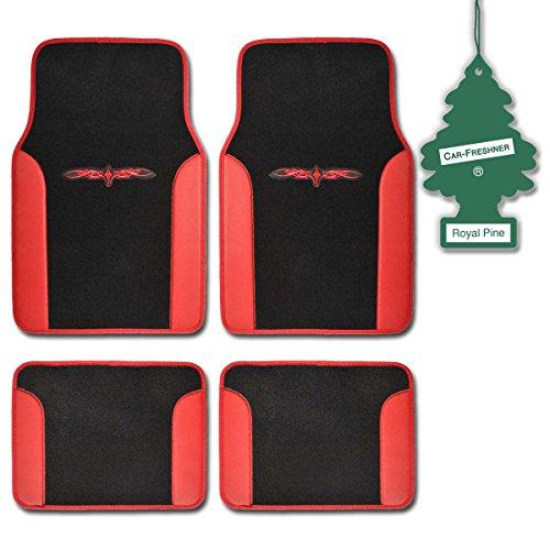 Bdk Red Tribal Print Carpet Car Floor Mats Durable Plush Fit 4 Pcs W/Royalpine front-385848