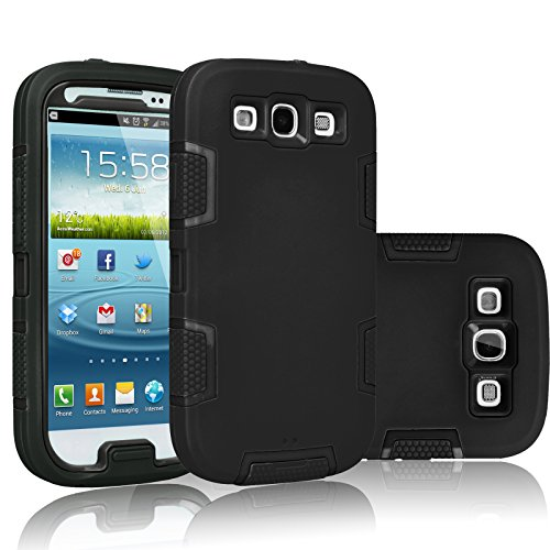 Galaxy S3 Case, Tekcoo(TM) [Troyal Series] [Black/Black] Hybrid Shock Absorbing Shock Dust Dirt Proof Defender Rugged Full Body Hard Case Cover Shell For Samsung Galaxy S3 S III I9300 GS3 All Carriers (Phone Case Samsung Galaxy S3 Mini compare prices)