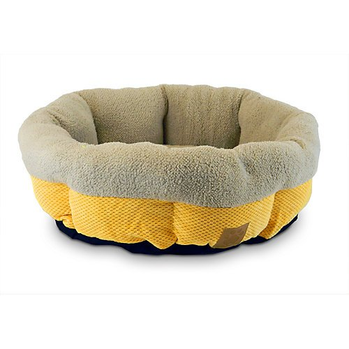 Precision Pet Snoozzy Mod Chic Round Shearling Cup Bed, 21-Inch, Buff Yellow front-1014771