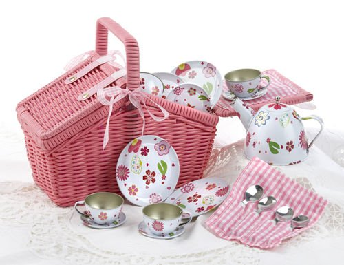 Delton Children'S Tin Tea Set With Pink Daisies