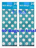 Light Aqua Polka Dot Gift Bags with Twist Ties (2-pack) Value 40 Count