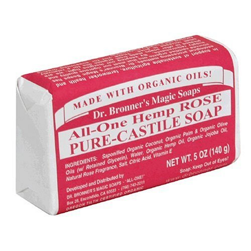 Dr. Bronner's Magic Soaps Pure-Castile Soap, All-One Hemp Rose, 5-Ounce Bars (Pack of 6) - 1