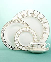 "Martha Stewart Collection with Wedgwood ""Meadow Silver"" Rim Soup Bowl"