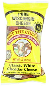 Just the Cheese Mini Round Snacks, Classic White Cheddar, 0.5-Ounce Bags (Pack of 16)