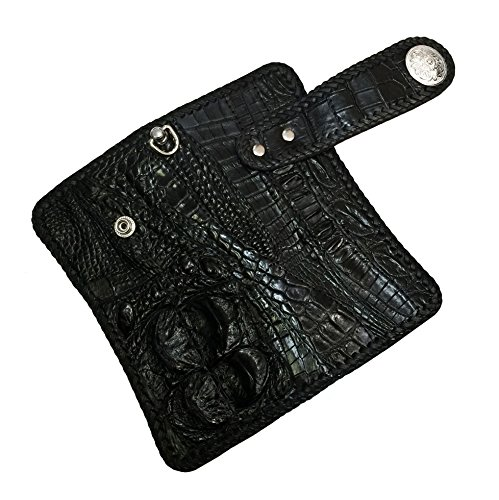D'SHARK Luxury Biker Crocodile Skin Leather Bi-fold Snap Wallet (Black) 5