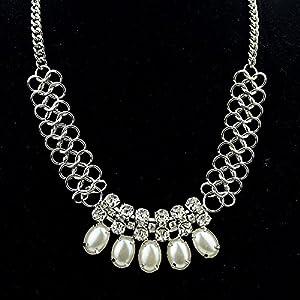 Weiß Imitation Edelstein mit Silber Kette 2014 Fashion Schmuck für Damen