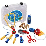 Click n' Play Kids Pretend & Play Doctor Kit, Set Includes 15 Medical Doctor Equipment, Including Electronic Stethoscope and Battery Operated Cell Phone with Carrying Gift Case