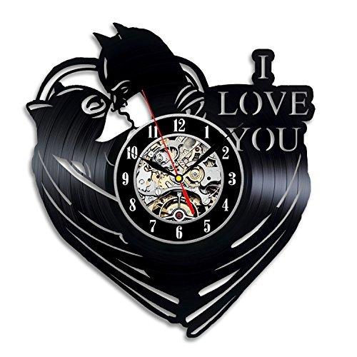 [Batman And Catwoman Art Vinyl Record Clock Wall Decor Home Design] (Costume Catwoman Vinyl)