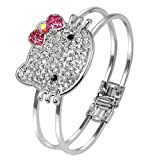 Silver Tone Plated Bangle Cuff Bracelet with Large Crystal Kitty Face Pink Bow Tie