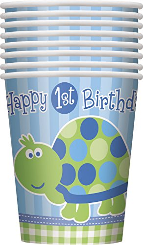 9oz Turtle First Birthday Party Cups, 8ct - 1