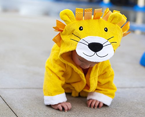 Baby-Steps, Yellow Lion Hooded Bathrobe and Towel, 0-12 Months, Bath Robe Baby Shower Gift. Free Gift Box with Purchase!