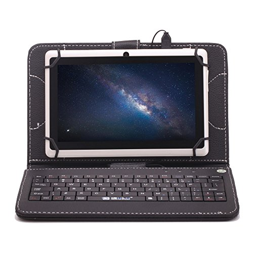 """Irulu Hd Screen Q8 7"""" Android Tablet With Keyboard Case, Android 4.2 Jelly Bean Os, 1024*600 Hd Screen With 5 Point Capactive Touch, Allwinner A23 Dual Core Cpu, Dual Cameras(0.3/2Mp), 8Gb Storage - White Tablet With Black Keyboard Case"""