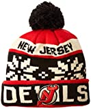 NHL New Jersey Devils Men's Face-Off Winter Cuffed Pom Knit Beanie, One Size, Red