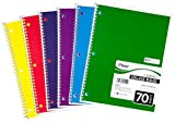 Mead Spiral Notebook, College Ruled, 1 Subject, 70 Sheets, 8 x 10.5 Inches, Assorted Colors (05512)