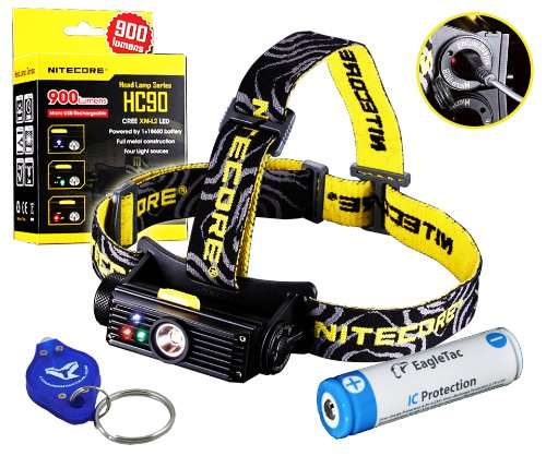 Bundle: Nitecore Hc90 900 Lumens Rechargeable Led Headlamp W/ Usb Built-In Charger, Eagletac 2500Mah Rechargeable 18650 And Lumentac Keychain Light