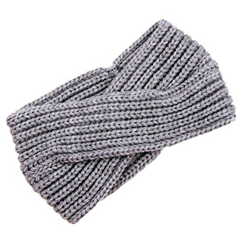 TININNA Donne Moda Ritorto annodate Crochet Knit Fasce Fascia dei capelli Accessori per capelli Copricapo Cerchietti Bandane Turbante chiaro Grigio