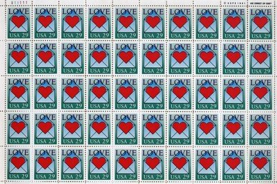 Love Heart Envelope Full Sheet of 50 x 29 cent US Postage Stamps Scot #2618