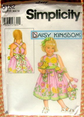 Simplicity 5132 Daisy Kingdom Girl's Summer Dress & Flowerpot Purse- Size BB (5, 6, 7, 8)