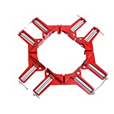 JM-capricorns 4Pcs-90 Degrees Right Angle Clamp 100mm Aluminium alloy Corner Clamp Picture Holder Woodworking Holder (Color: Red)