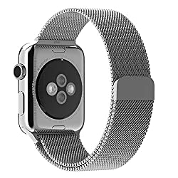 Apple Watch Band, BRG Milanese Loop with Fully Magnetic Closure Clasp Mesh Stainless Steel iWatch Band Bracelet Strap for Apple Watch Sport&Edition 42mm Silver