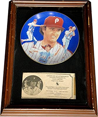 Steve Carlton UnSigned Custom Framed collectors Plate With Certificate