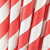 Biodegradable Paper Straws (Premium Quality), Pack of 100, Striped - Red