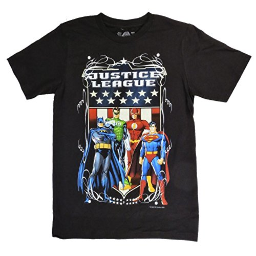 American Rag Men's Justice League American Flag Graphic T-Shirt Black